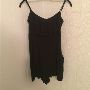 Black Romper with Flowy Top